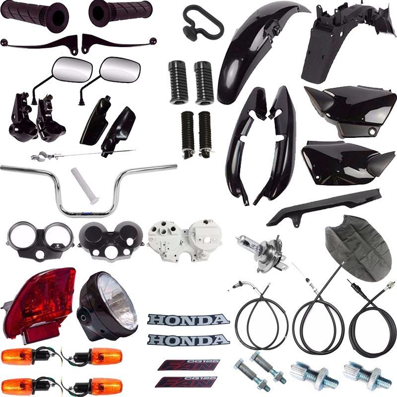 Kit Carenagem + Kit Farol Pisca Cg 125 Fan 2004 A 2008 Preto