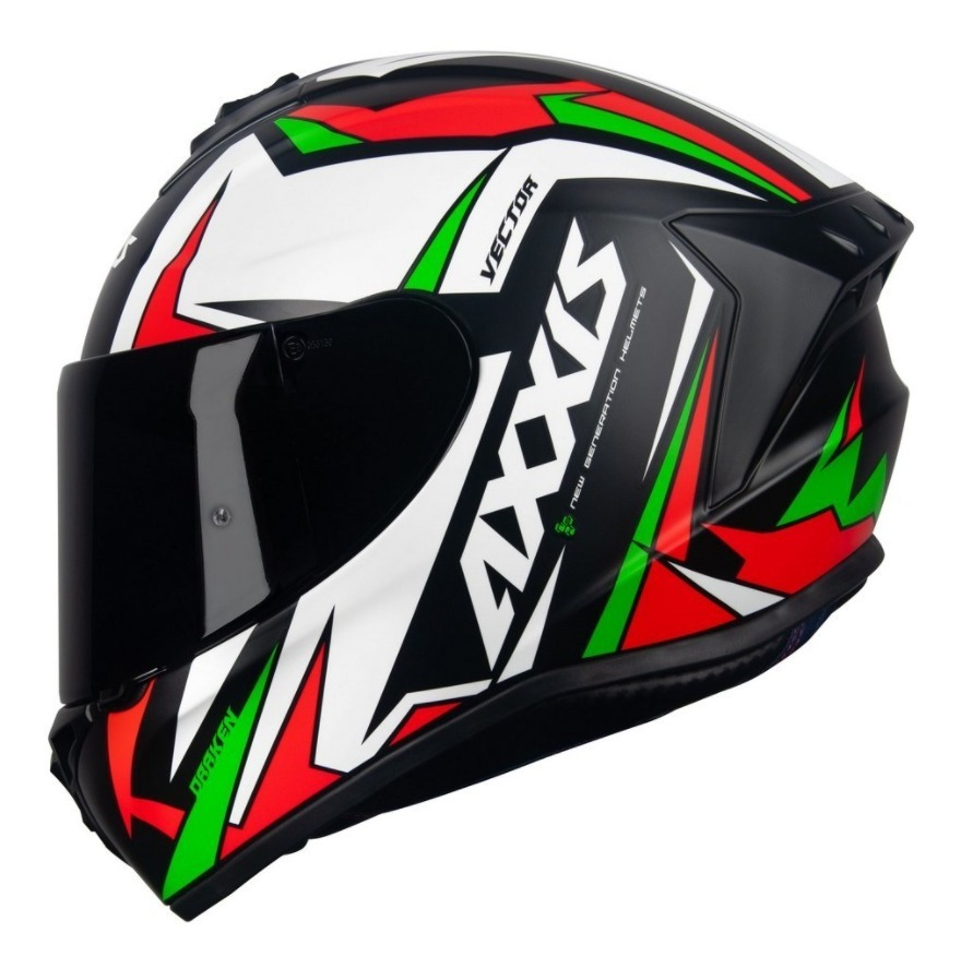 Capacete Axxis Draken Vector Matt Black White Green
