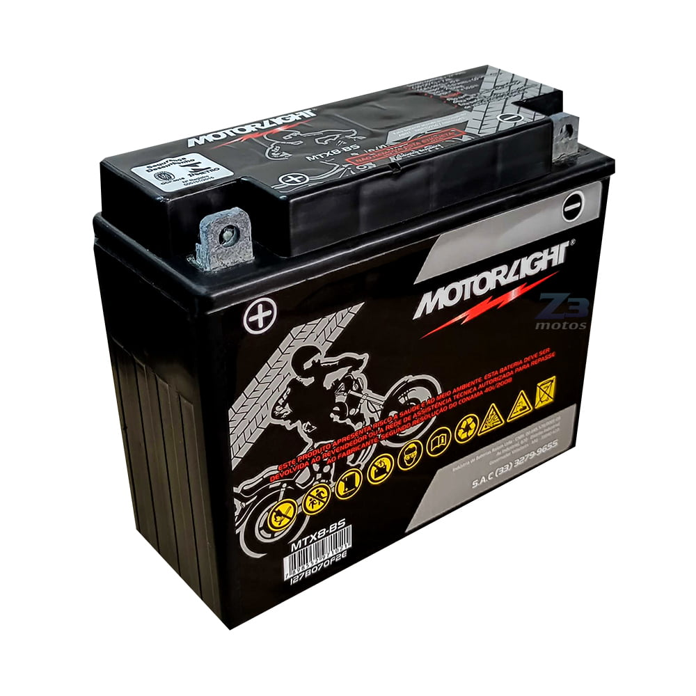 Bateria MTX8N-BS MotorLight 8ah 12,0 Volts