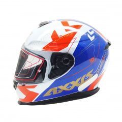 Capacete Axxis Diagon Gloss White Blue Red